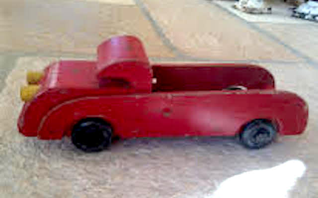 "Buddy L Wood Toy Fire Truck Fragment, c. 1942 4.5"" tall x 13"" long"
